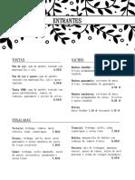 Menú Restaurante Pronto Factory 2018