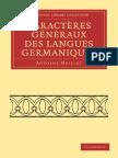 Meillet 1917. Caractères Généraux Des Langues Germaniques