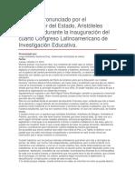 Inauguración Del Cuarto Congreso Latinoamericano de Investigación Educativa