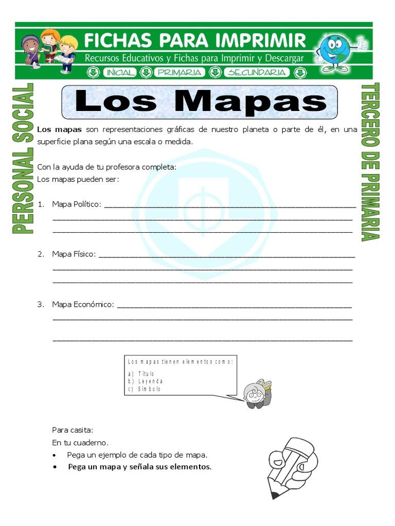 Ficha Elementos De Un Mapa Para Tercero De Primaria
