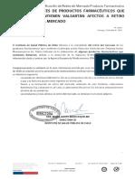 Notificación de Retiro de Mercado Producto Farmaceéutico.