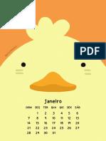 Calendário 2018 - Animais