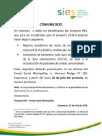 Comunicado Acreditación Semestre 2018-II SIES