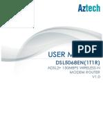Globe Aztech DSL5068EN(1T1R) - User Manual v1.2