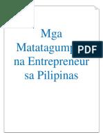 Matatagumpay Na Entrepreneur Sa Pilipinas