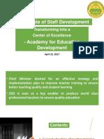 Revamping of DSD into Quaid -e - Azam Academy for Educational Development QAED