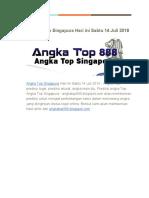 Prediksi Angka Top Singapura Hari Ini Sabtu 14 Juli 2018