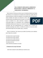 Los Sindromes de La Conducta Vinculados Al Derecho de Familia Que Obstaculizan El Logro de La Mediacion y La Concilicion en Venezuela