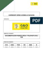 CVA-EX02-TCIN-DO-0008-B Documentacion Puente Grua y Polipasto de 2 Ton