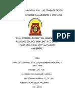 Pigars en El Distrito de Ica Para Reducir La Contaminacion Ambiental