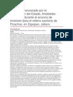 Anuncio de Inversión Para El Relleno Sanitario de Picachos, En Zapopan, Jalisco