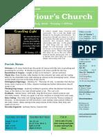 st saviours newsletter - 15 july 2018