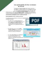 Características Principales de Las Versiones de Excel