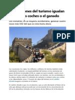 Las Emisiones Del Turismo Igualan a Las de Los Coches o El Ganado