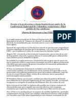 Frente a La Protección a Jesús Santrich Por Parte de La Conferencia Episcopal de Colombia