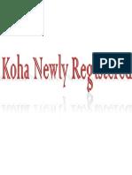 Koha Newly Registered