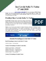 Prediksi Skor Levski Sofia vs Vaduz 17 Juli 2018