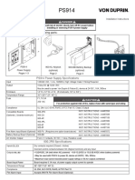 Von Duprin PS914 Power Supply Installation Instructions 106443