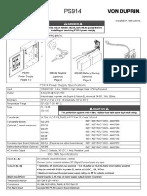 von duprin ps914 power supply installation instructions 106443  von duprin ps914 wiring diagram #15