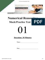 Y8 - Numerical Reasoning Mock Test 01