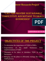 "MRP Presentation on ""CAN TQM SUSTAIN COMPETITIVE ADVANTAGE TO SMALL AND MEDIUM ENTERPRISES"""