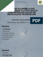 Analise Econômica Tecnologias Fotovoltaica e Concentrador Solar Em Instalações Residenciais Monografia Engenharia Elétrica Jose Rafael Nicolao Carneiro