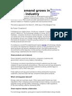 Green Demand Grows in He Tech Industry