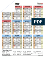 School Calendar 2018 2019 Landscape Year at a Glance