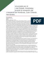 Recepción Del Presidente de Honduras, Juan Orlando Hernández