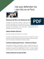 Instituciones Que Defienden Los Derechos Del Niño en El Perú