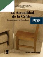 La Actualidad de La Critica. Ensayos Sob