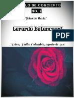 PASILLO DE CONCIERTO NO. 2. Gotas de Lluvia. Para piano. Gerardo Betancourt.