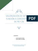 Valoración de Concentrados de Pb y Zn