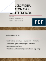 Esquizofrenia Catatónica e Indiferenciada