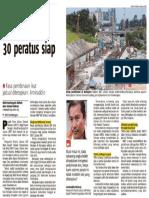 Berita Harian - Projek MRT SSP Hampir 30 Peratus Siap