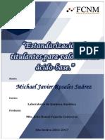 Estandarización de titulantes para valoraciones ácido-base.