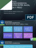 RELACIÓN ENTRE MASA, FUERZA Y PESO