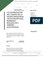 La Colonización Del Cuerpo de La Mujer_ Industrias Anticonceptivas, Barreras Biológicas y Saberes Legitimados