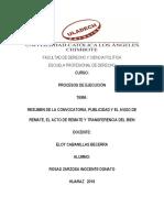 Resumen Convocatoria Publicidad Acto de Remate y Transferencia Del Bien