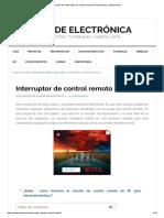 Circuito Del Interruptor de Control Remoto IR (Infrarrojo) y Aplicaciones