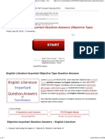 English Literature Important Question-Answers (Objective Type) ~ TeachMatters