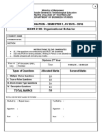 Model Final Exam - Organisational Behaviour