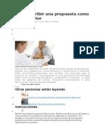 Cómo Escribir Una Propuesta Como Un Consultor