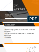 SLA - PPT Variability in Language Learner
