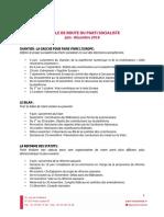 Feuille de Route Pour Fin 2018  du PS (présentée lors du Conseil National du 9 Juin 2018)