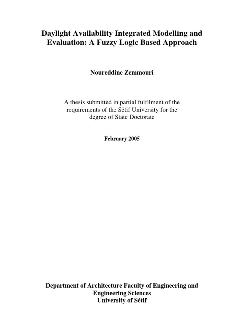 Master thesis fuzzy logic