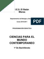 Programación 1º Bach Ciencias para el Mundo Contemporaneo(2010-11)