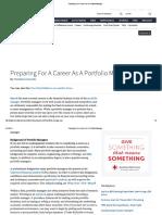 Preparing for a Career as a Portfolio Manager