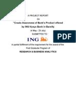 26538620 Summer Training Report of ING Vysya Bank Ltd