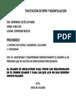 EXAMEN DE CAPACITACION DE BPM Y MANIPULACION.docx